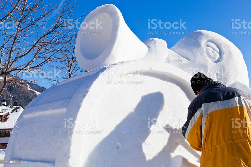 San Candido Snow Festival, Artist Working royalty-free stock photo