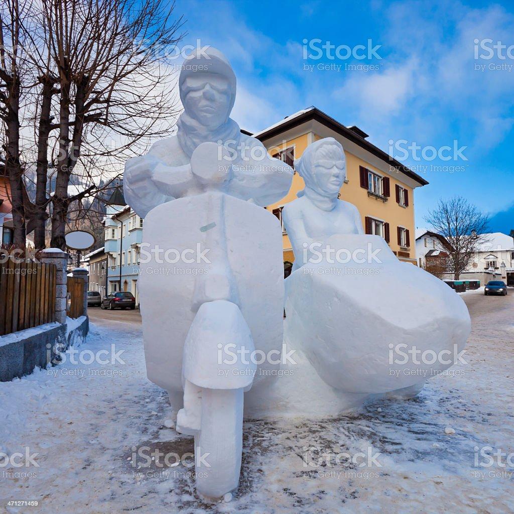 San Candido Snow Festival, Winner Sculpture stock photo