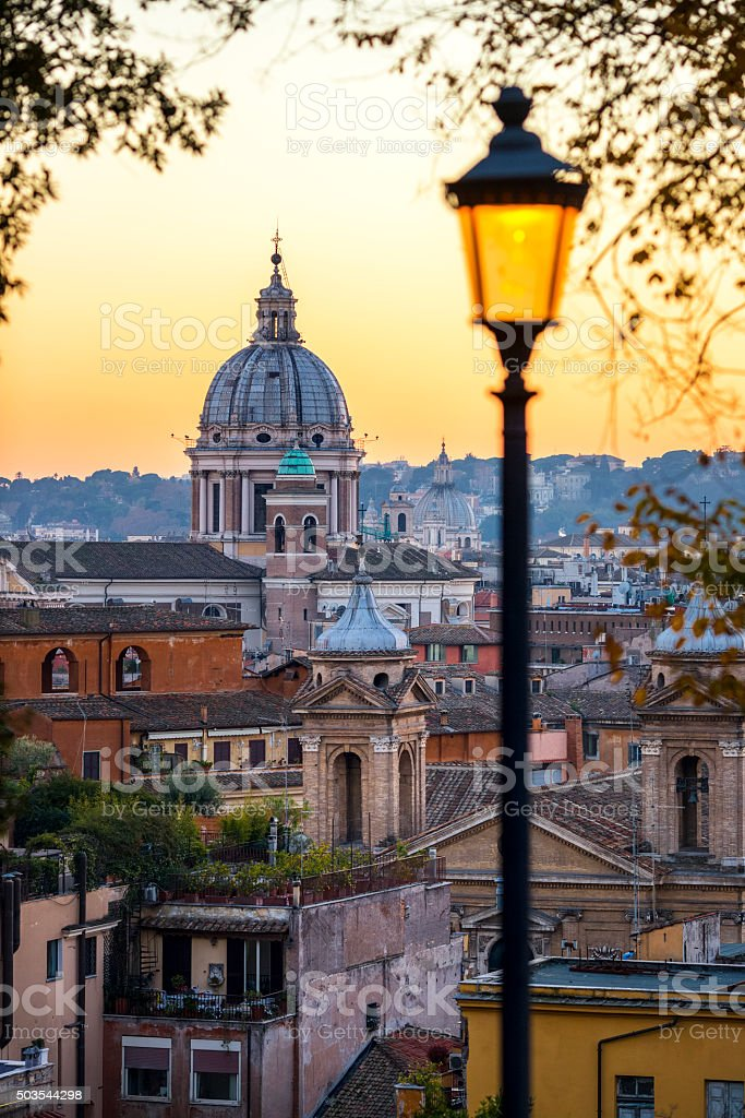 San Carlo al Corso church cupola at sunset, Rome Italy stock photo
