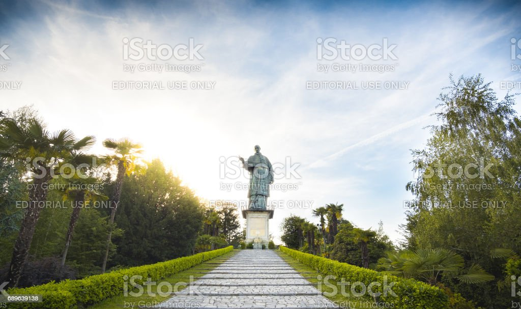 San Carlo Borromeo Sancarlone Colossus statue Arona Piedmont Italy stock photo