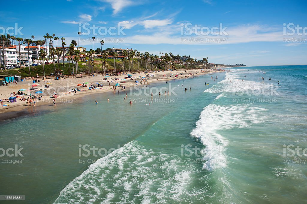 San Clemente Beach View from Pier stock photo