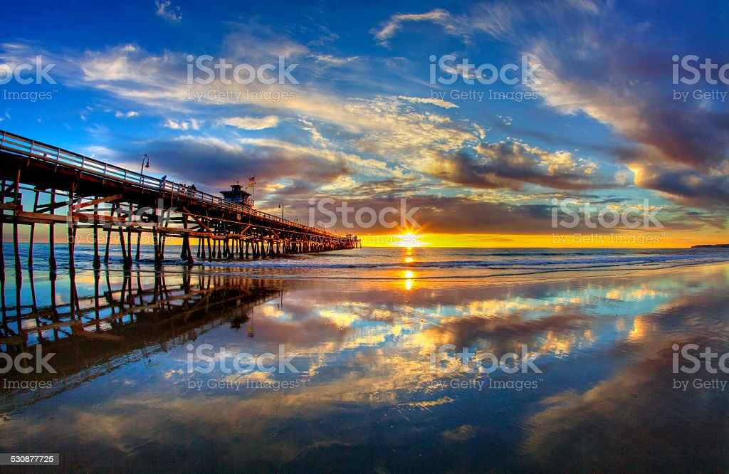 San Clemente Pier Summer Sunset stock photo