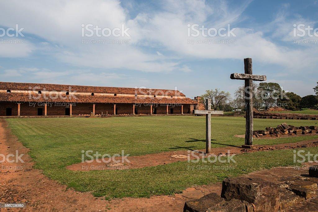 San Cosme and Damian Jesuita ruins in Encarnacion, Paraguay stock photo