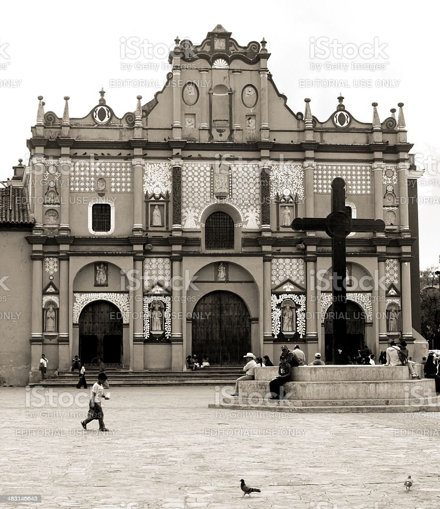San Cristobal Chiapas Mexico Cathedral and its churchyard. royalty-free stock photo