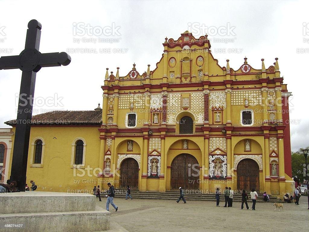 San Cristobal de las Casas cathedral, Chiapas Mexico stock photo