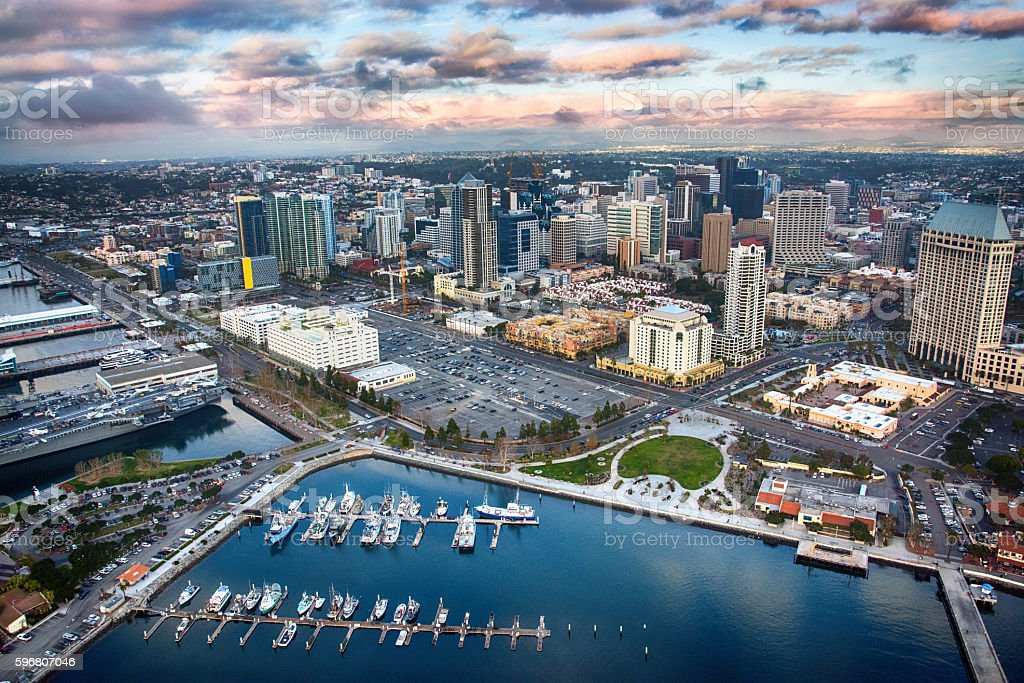 San Diego Aerial View of Downtown and the Bay stock photo