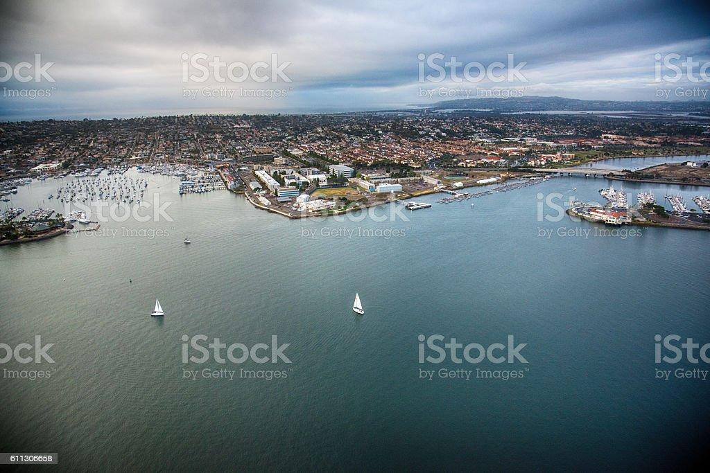 San Diego Bay Aerial stock photo