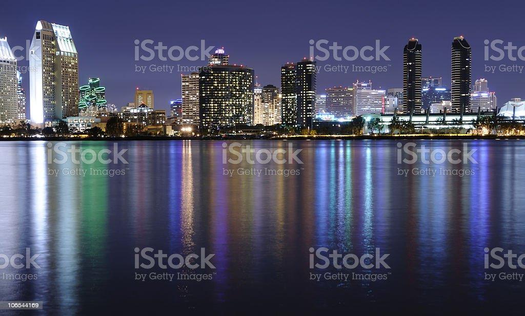 San Diego Bay at Night stock photo
