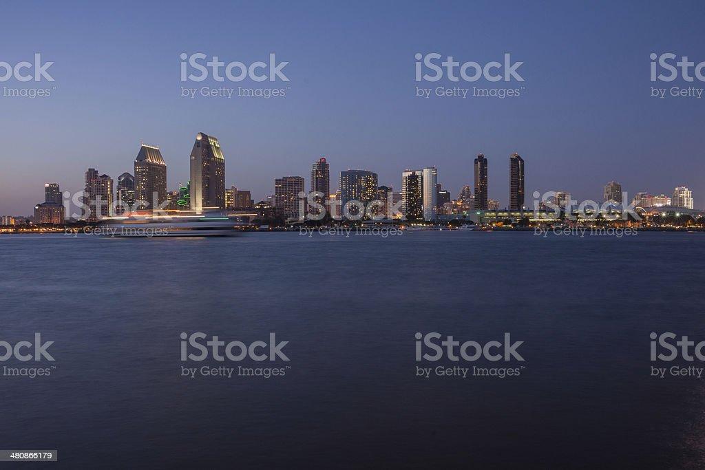 San Diego Bay at Twilight stock photo