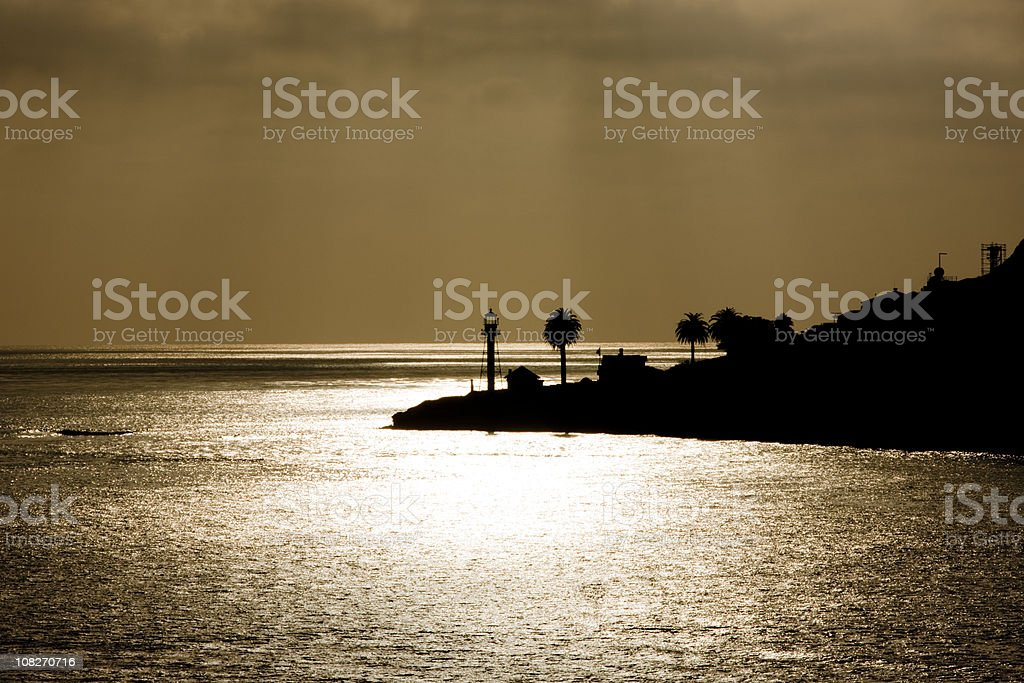 San Diego Bay Lighthouse, Point Loma, Silhouette, Sunset stock photo