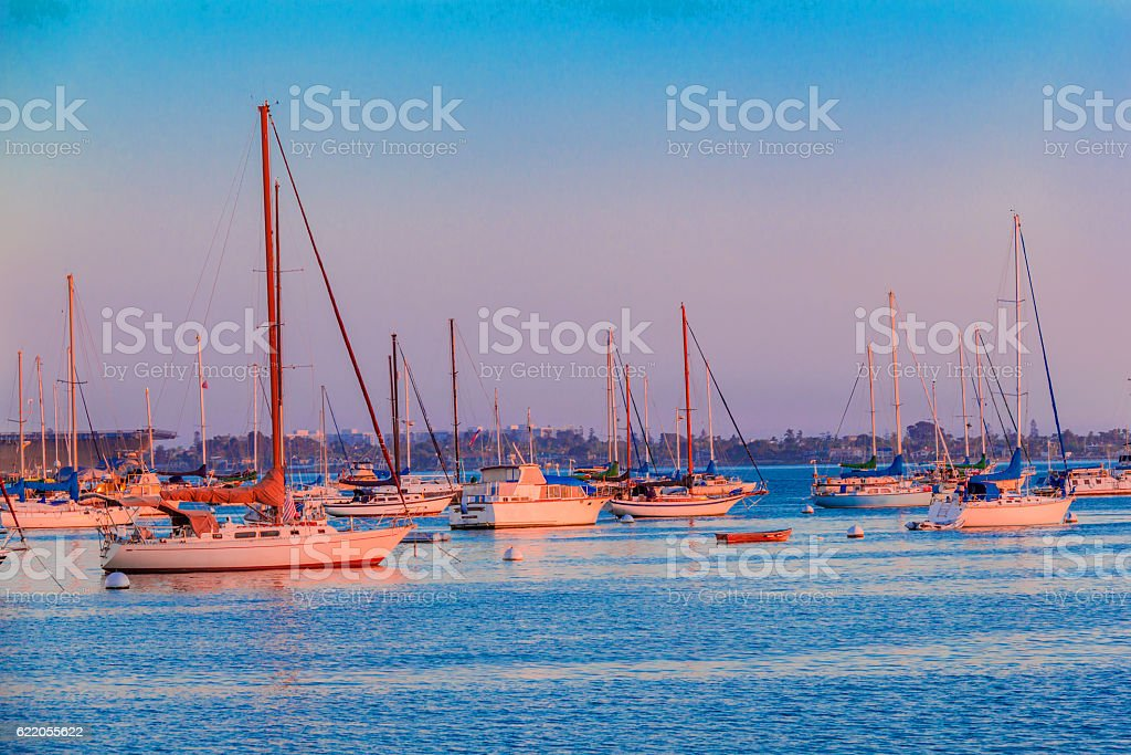San Diego Bay with recreatioal boats, California (P) stock photo