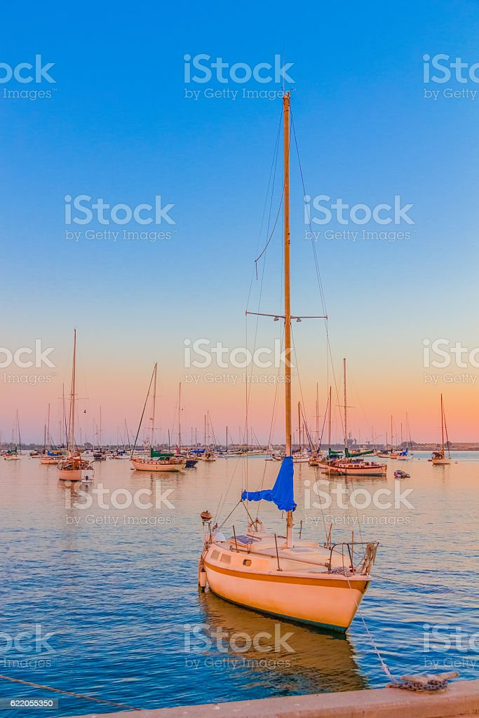 San Diego Bay with recreational boats, California (P) stock photo