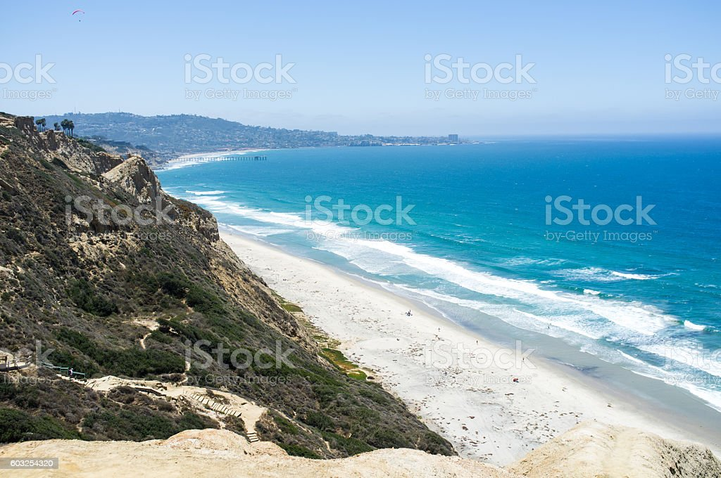 San Diego beach along coastline - Torrey Pines gliderport stock photo