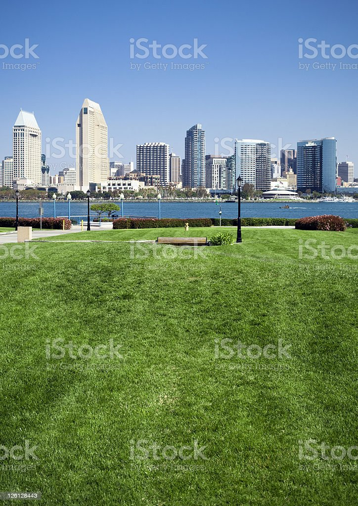 San Diego City Downtown District seen from Coronado royalty-free stock photo
