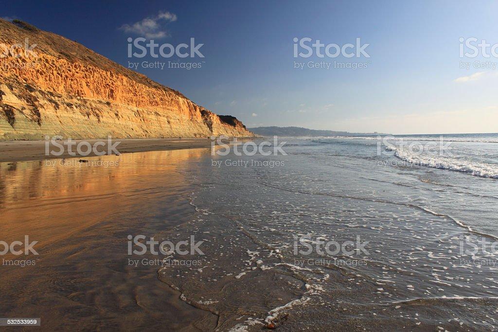 San Diego Coastline at sunset stock photo