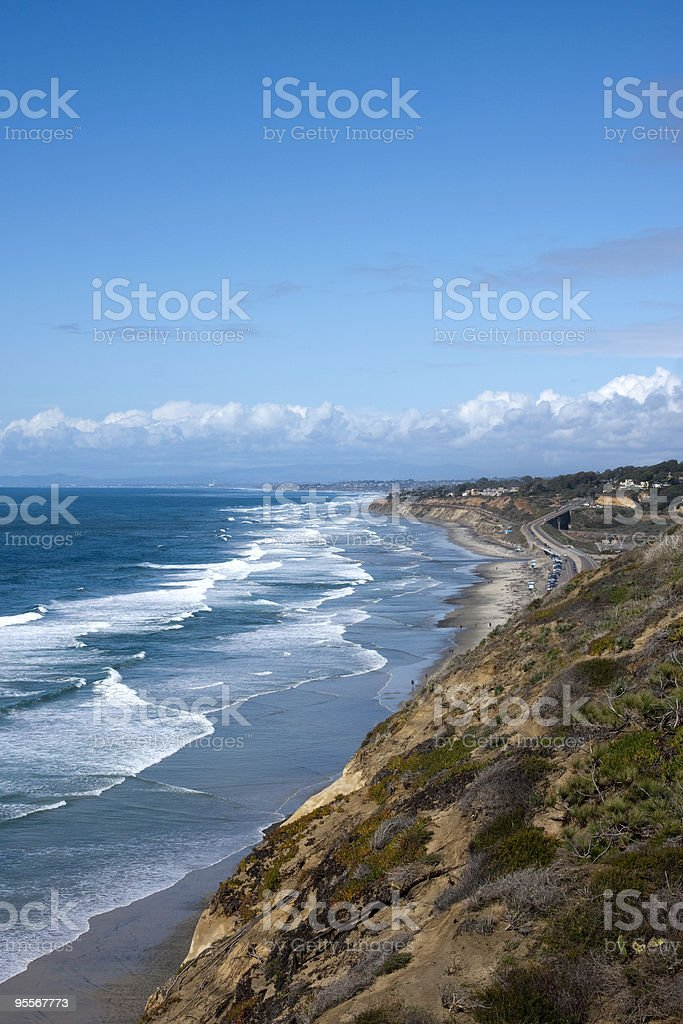 San Diego Coastline with Pacific Ocean Waves stock photo