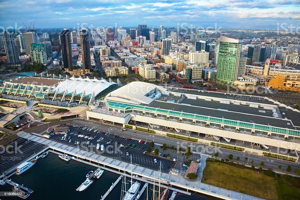 San Diego Convention Center and Skyline stock photo