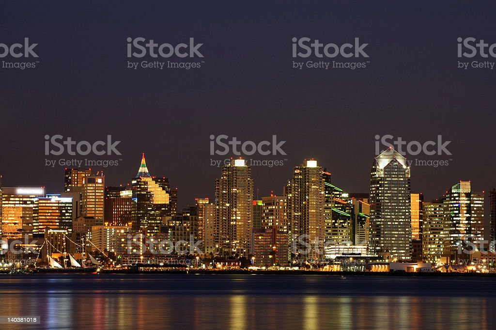 San Diego downtown Night Scene royalty-free stock photo