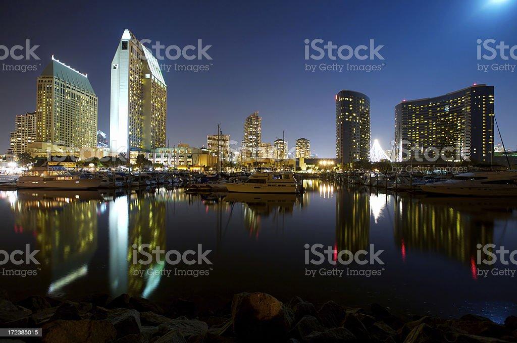 San Diego Embarcadero Marina under full moon royalty-free stock photo