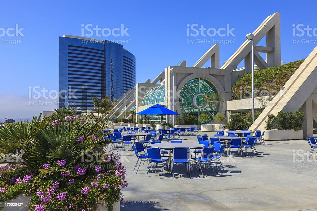 San Diego exhibition center with hotel in the background stock photo