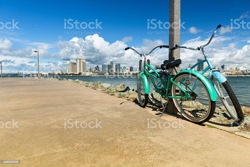 San Diego from Coronado beach stock photo