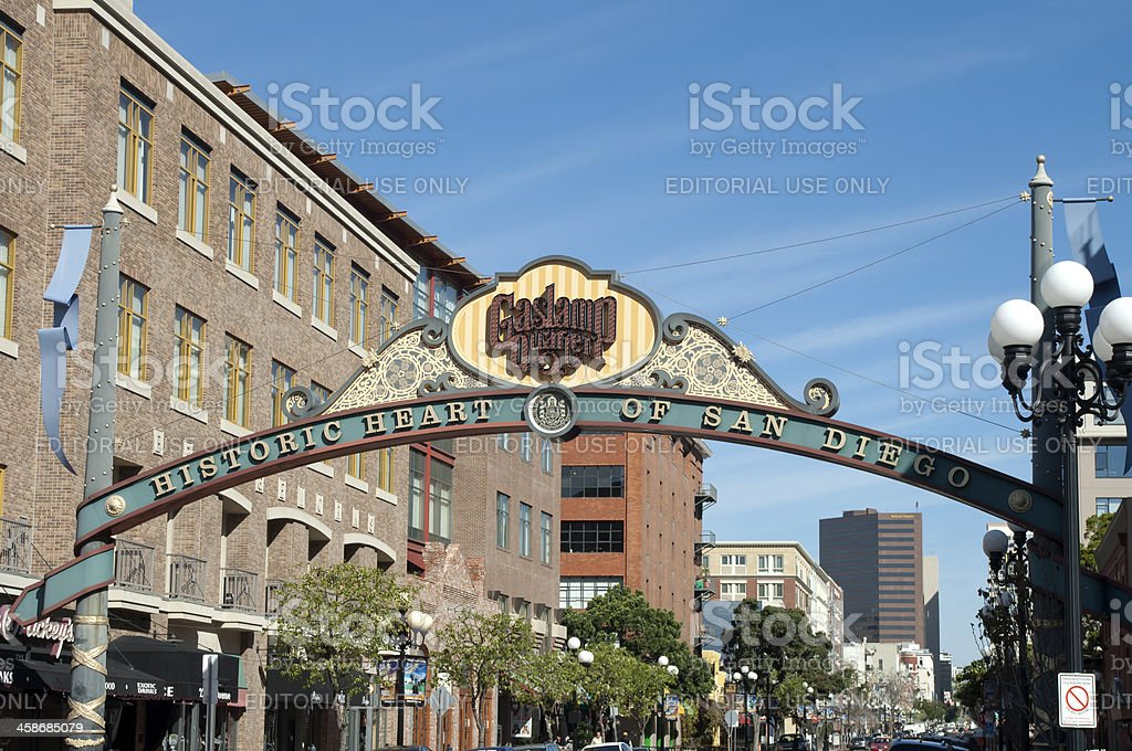 San Diego Gas Lamp District Sign stock photo