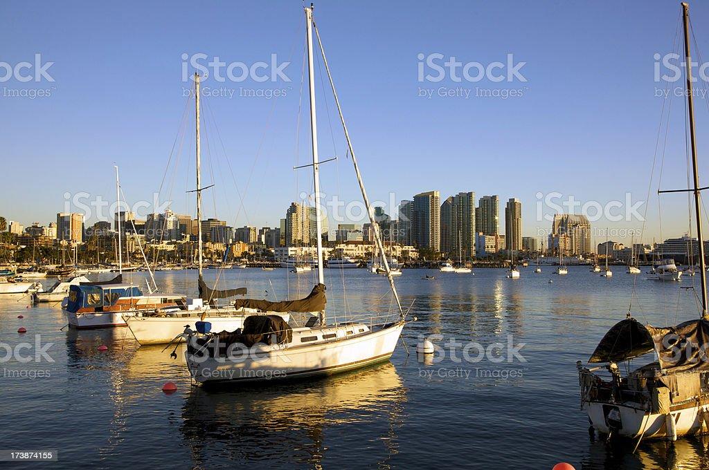 San Diego Harbor near gorgeous sunset stock photo