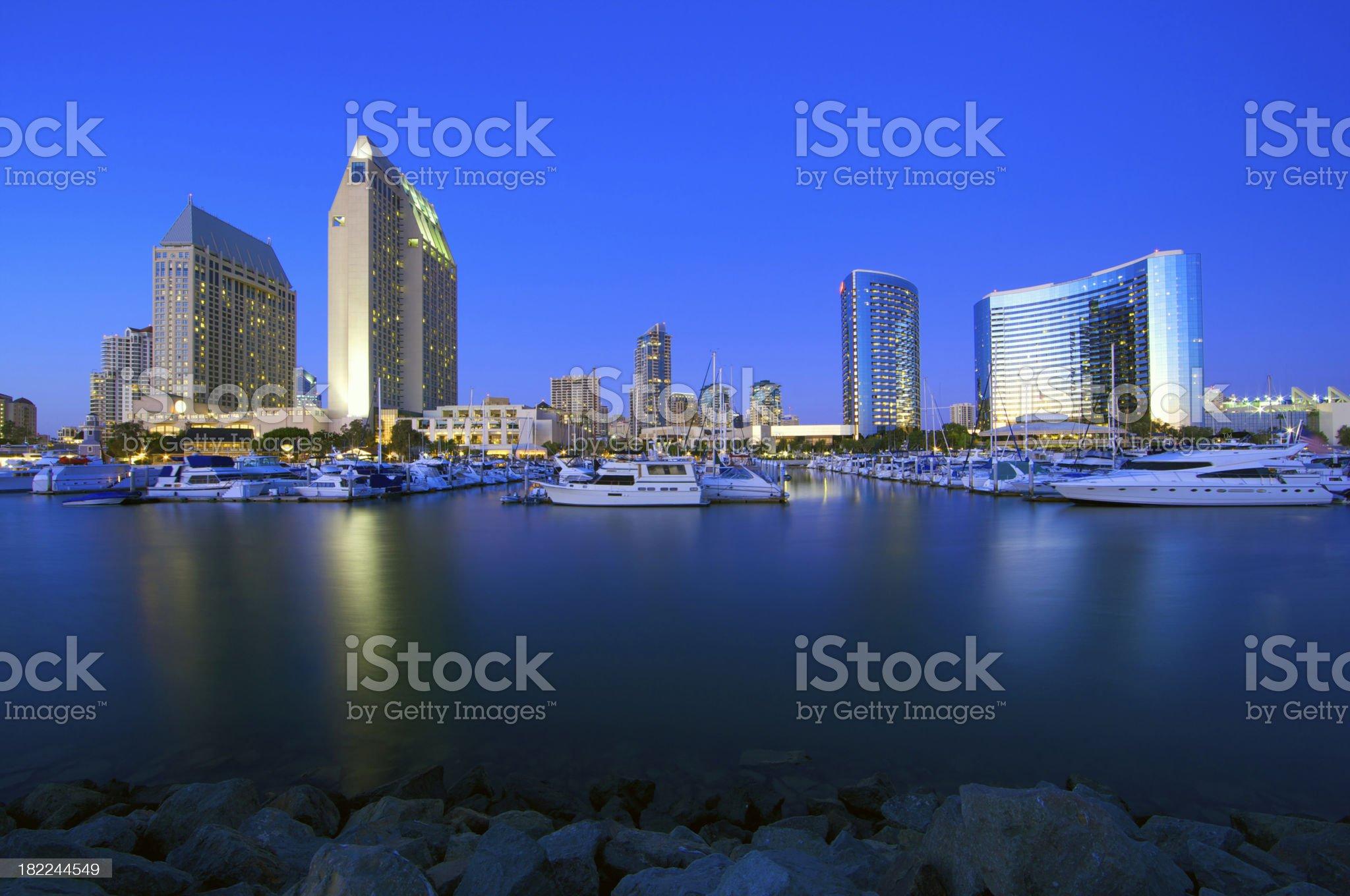 San Diego landmark buildings in twilight royalty-free stock photo