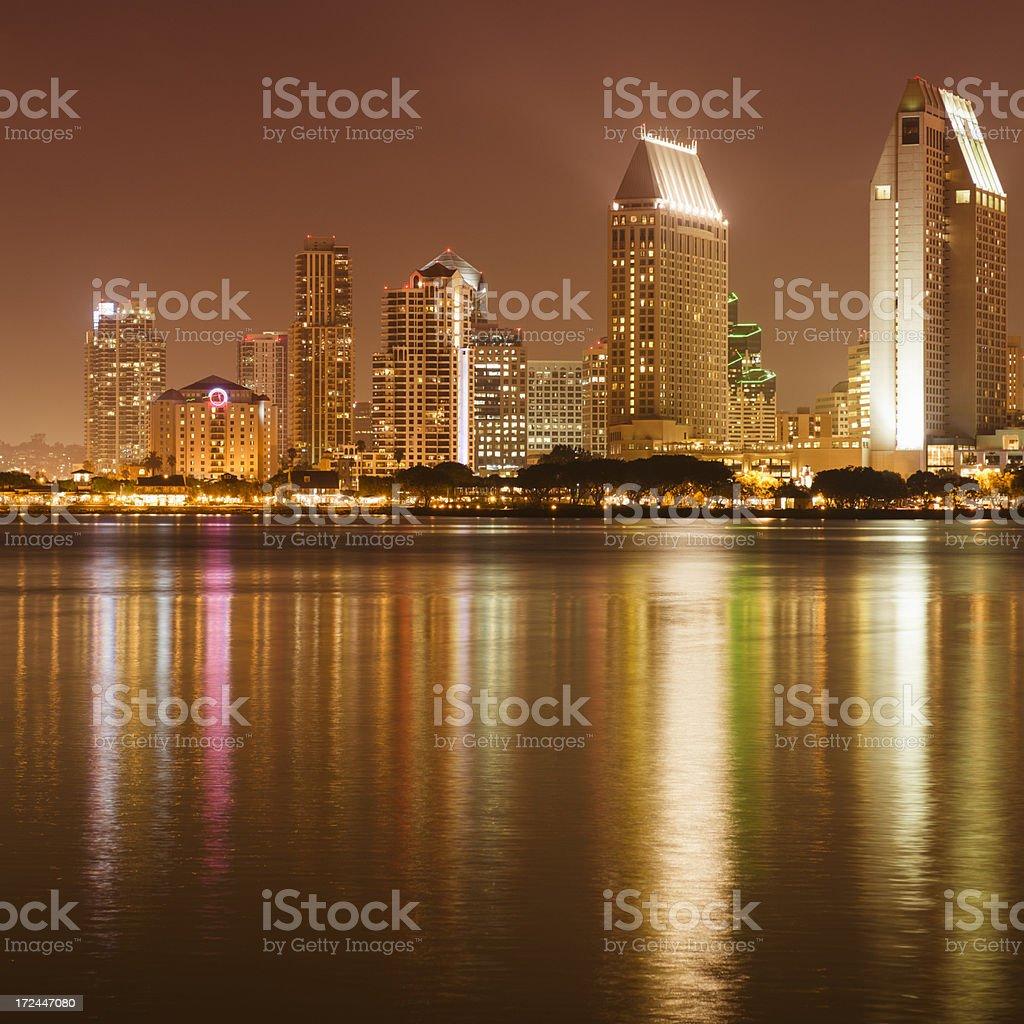 San Diego marina bay skyline on the night royalty-free stock photo