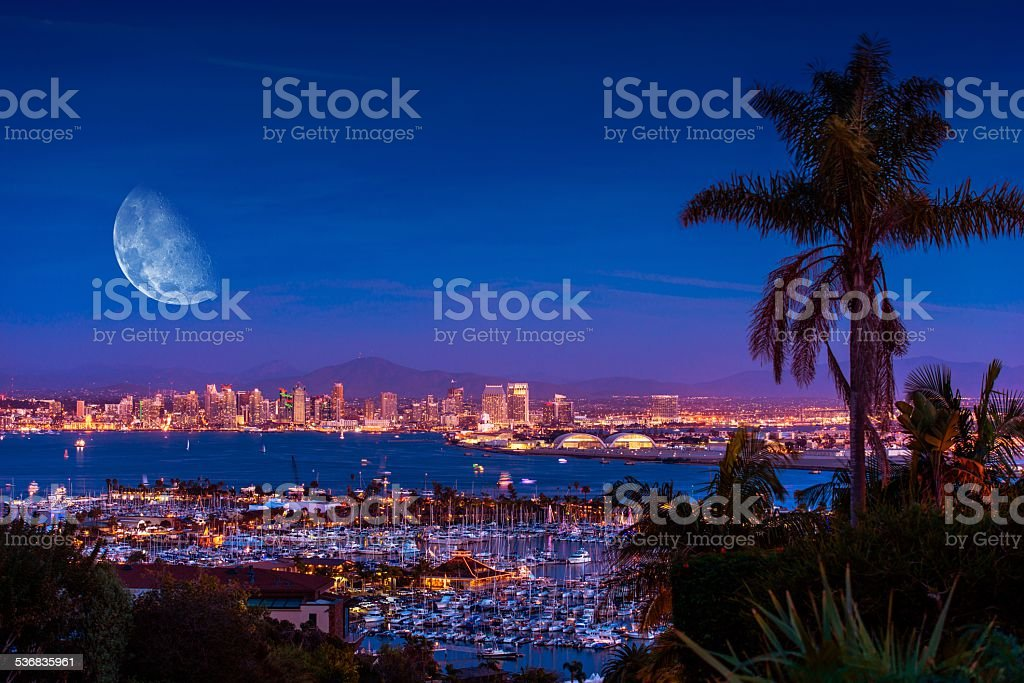 San Diego Night with Moon stock photo