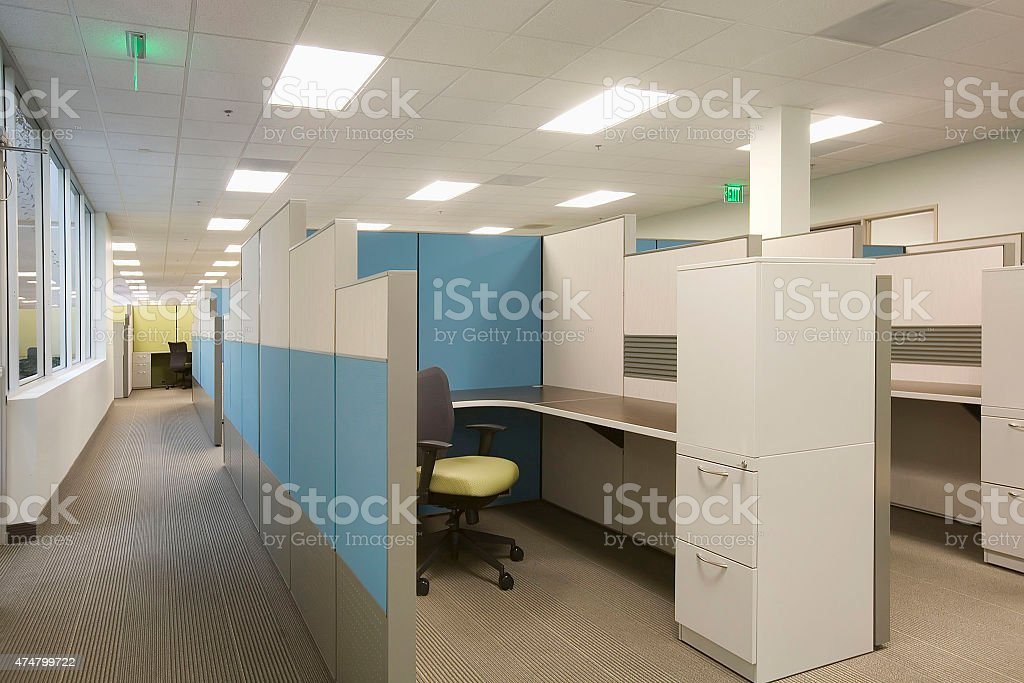 san diego office cubicle blue green gray stock photo