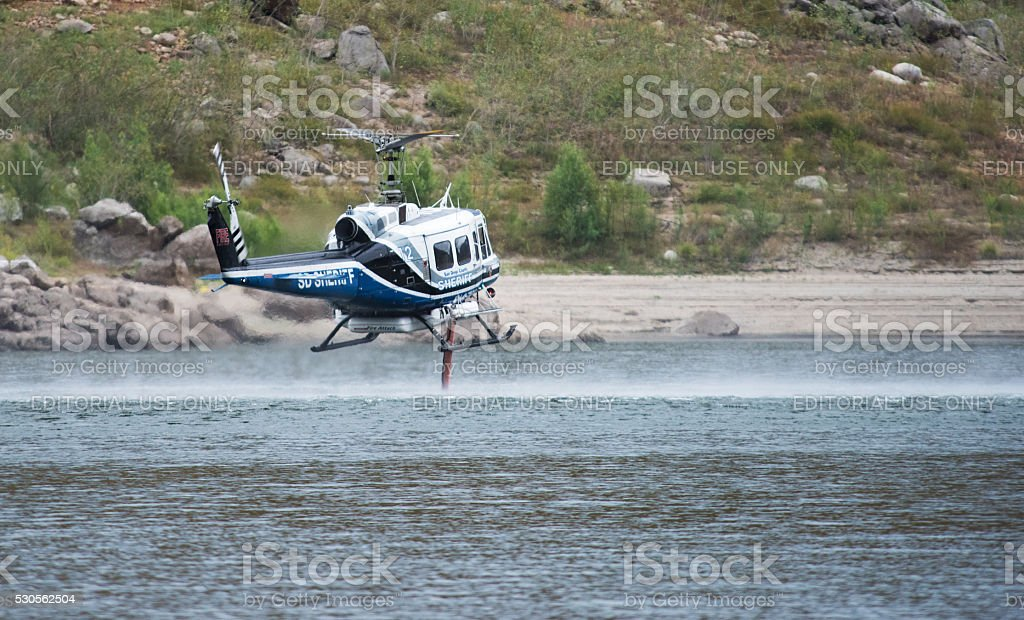 San Diego Sheriff's Fire Helicopter Training stock photo