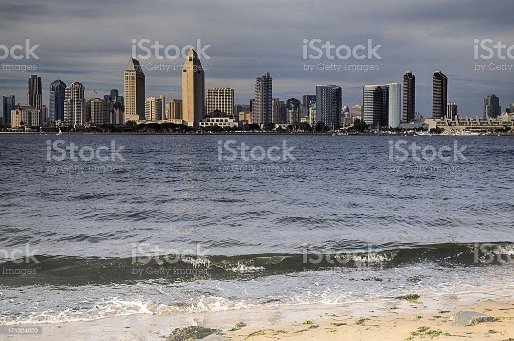 San Diego Skyline Across Bay, Moody Dramatic Sky stock photo