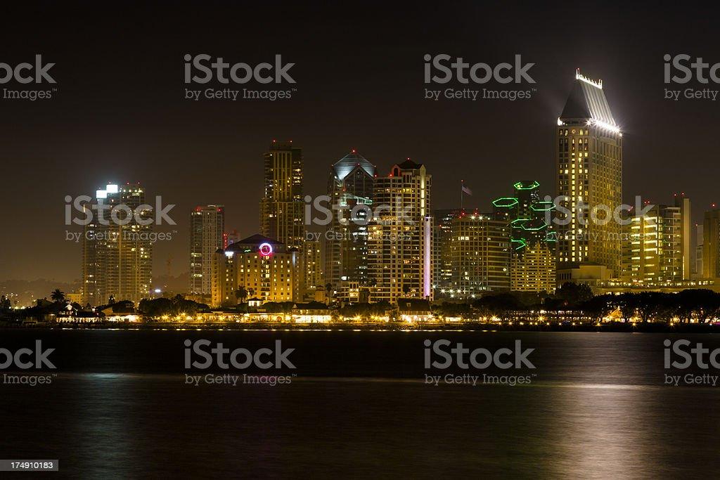 San Diego Skyline Across Bay, Night, Skyscraper royalty-free stock photo
