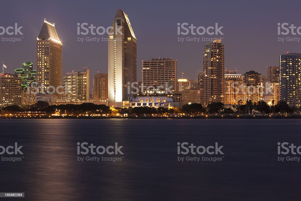 San Diego Skyline Across Bay, Sunset royalty-free stock photo