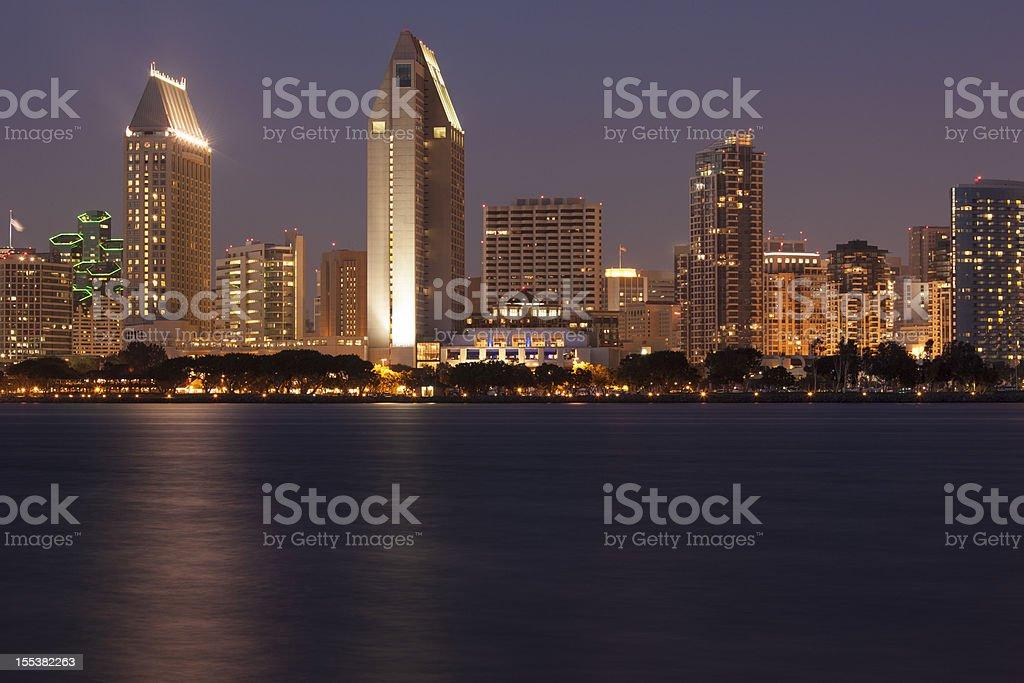 San Diego Skyline Across Bay, Sunset stock photo