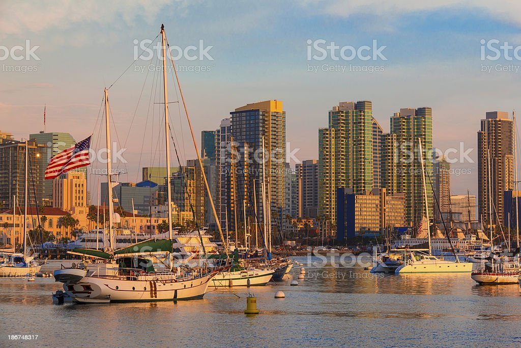 San Diego skyline and bay, California (P) royalty-free stock photo