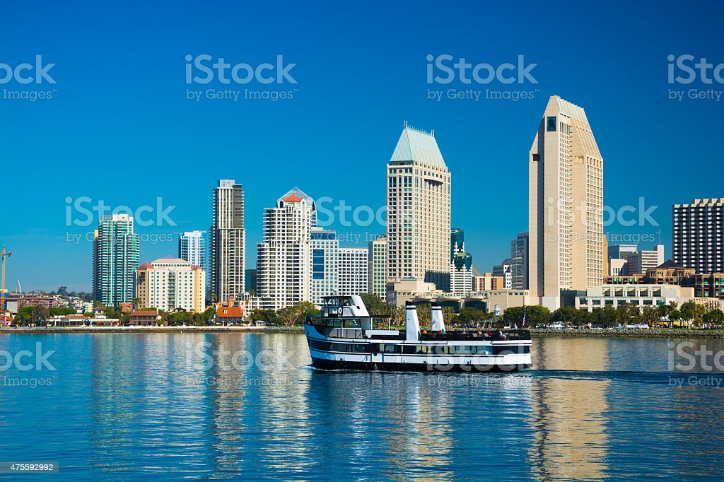 San Diego skyline and ferry boat stock photo
