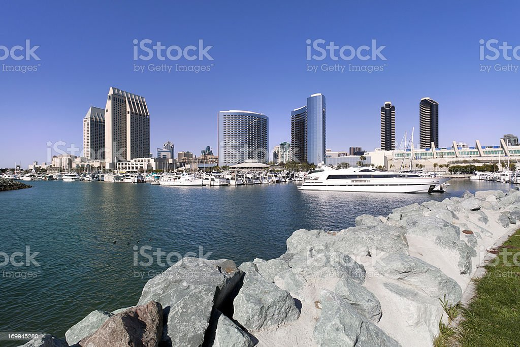 San Diego skyline and Marina bay royalty-free stock photo