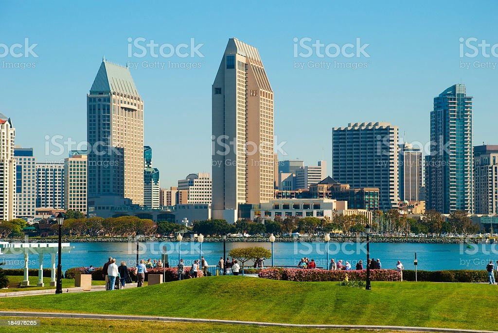 San Diego skyline and park with people royalty-free stock photo