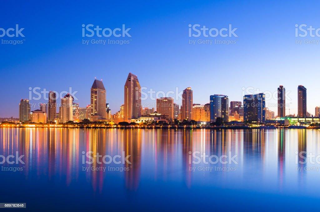 San Diego Skyline at Dawn with San Diego Bay Reflections stock photo