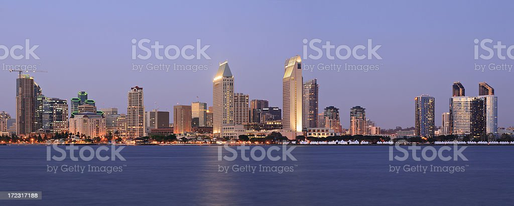 San Diego Skyline at night royalty-free stock photo