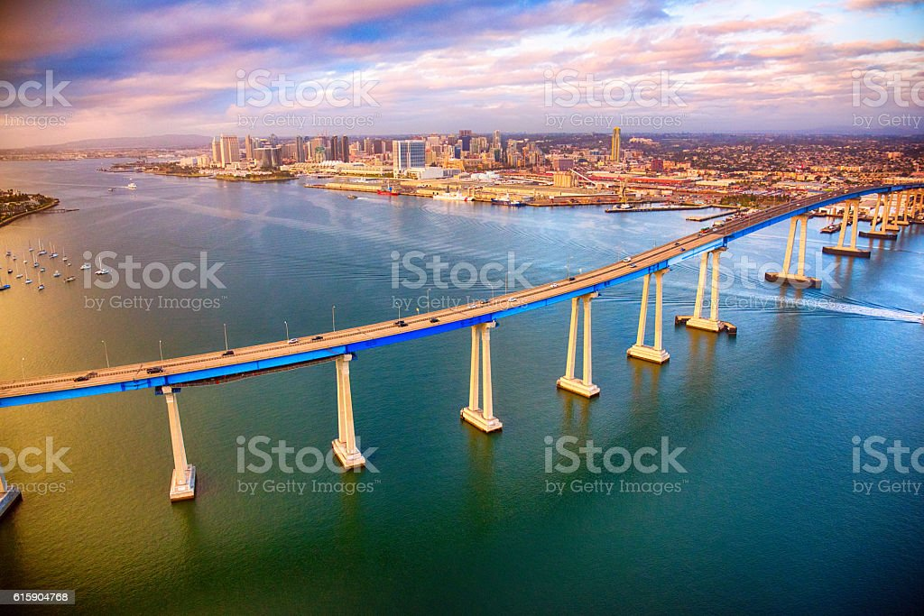 San Diego Skyline Beyond the Coronado Bridge stock photo