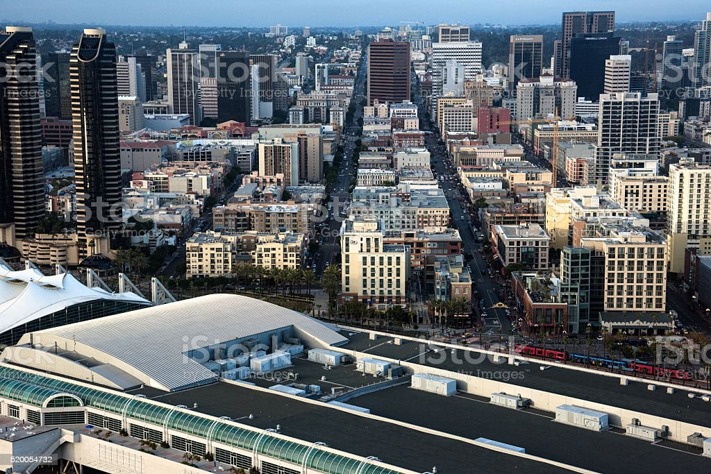 San Diego Skyline Cityscape From Above stock photo