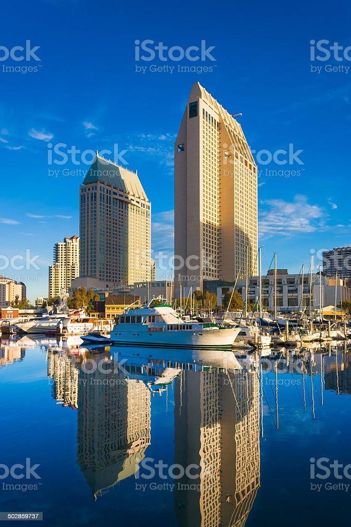 San Diego skyline Embarcadero Marina reflections stock photo