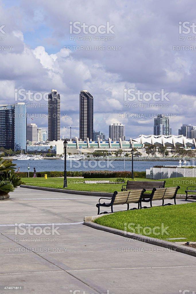 San Diego Skyline from Ferry Landing on Coronado Island royalty-free stock photo