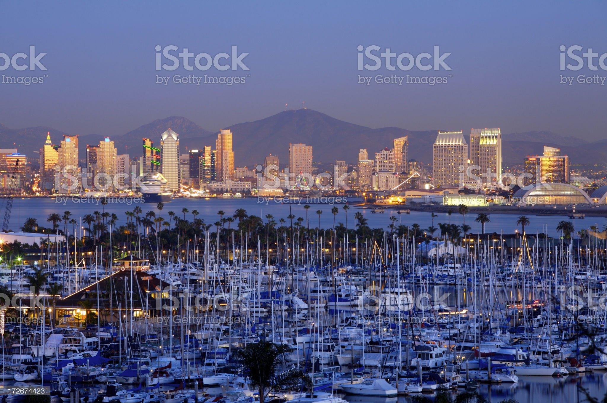 San Diego skyline in magic hour royalty-free stock photo