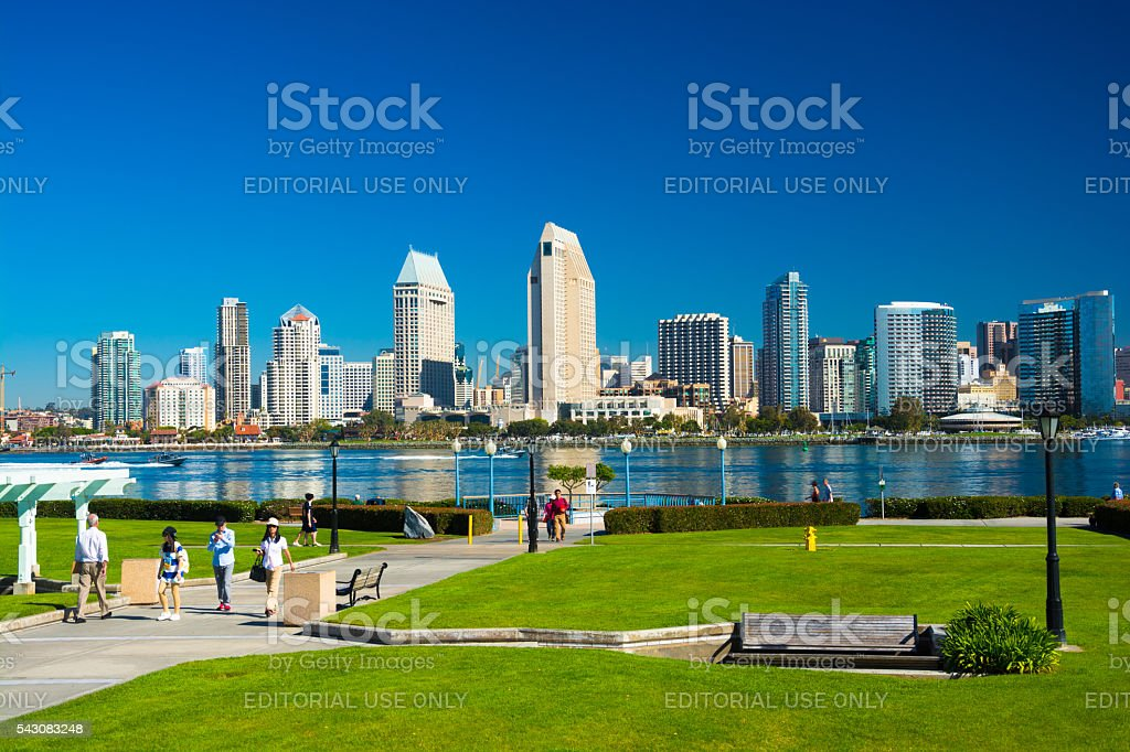 San Diego skyline with Park and Tourists stock photo