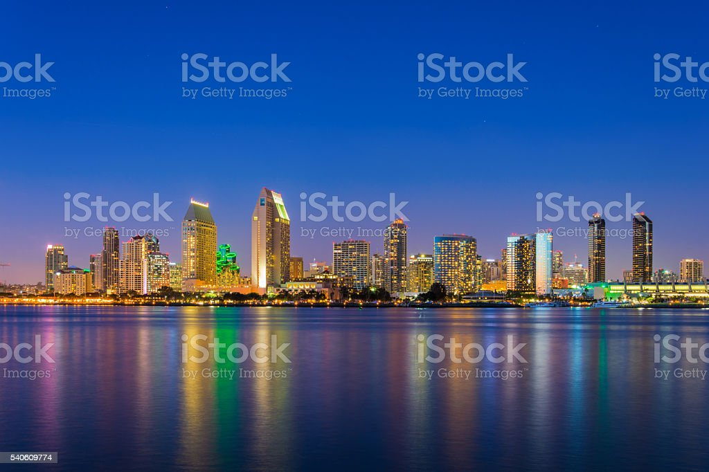 San Diego skyline with San Diego Bay at Dusk stock photo
