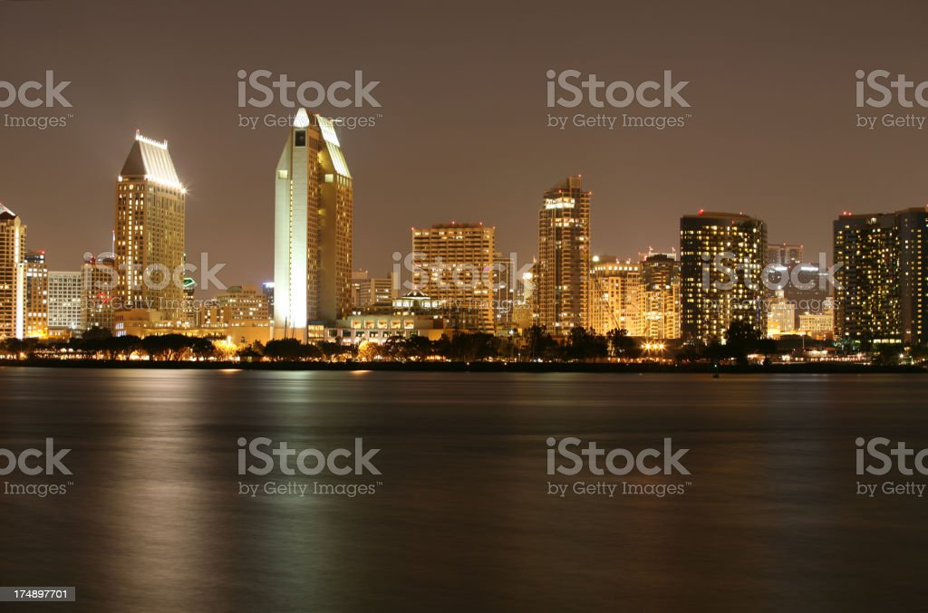 San Diego Skyscrapers at night royalty-free stock photo